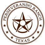 Perseverando Ranch Logo, Texan and Veteran Grown (circle enclosing star)
