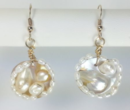 Blister Pearl And Freshwater Earrings